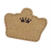 krone zeigt großhandel-100 STÜCKE DIY Kraftpapier Handgemachte Bolzenohrrings Tag Crown Form Kleine Nette Ohrring Verpackung Display Tag Karte
