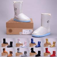 botas azules talla 41 al por mayor-(CON CAJA) Alta calidad WGG Women's Australia Classic botas de rodillas Botines Negro Gris castaño azul marino Mujeres niñas botas tamaño 35-41