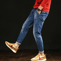 Wholesale mens flare jeans - Jeans Homme Jean Classic Biker Mens Skinny Brand Mens Ripped Straight Patches Overalls Flared Hommes Man Fear Of God