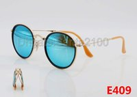 Wholesale designer folding sunglasses - High Quality Designer Folding Round Sunglasses For Mens Womens Fashion Sun Glasses Gold 48mm Glass Pink Mirror Lenses With Fold Cases Box