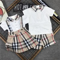 Wholesale classic baby clothes sets - 2018 Summer Male Girl Baby clothing set Classic Lattice Pure Cotton Pearl Cloth And Sister Dress Children clothes boys