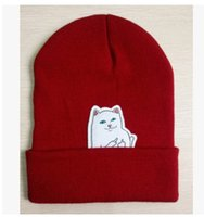 Wholesale cat top hat - 2018 New Cat Middle Finger Wool Warm Winter Street Acrylic Knitted Hats Caps Bonnet Cartoon Men and Women Hiphop Hats 4 Colors