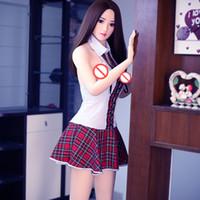 realista asiático sexo muñecas al por mayor-Cara asiática 165 cm realista sin olor sólido siliconelove sexy modelo estilo japonés Loli Sex Doll con esqueleto inoxidable
