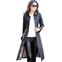 Discount red long leather trench Women Long Leather Jacket 2017 New Fashion Ladies EleWashed PU Leather Coats Trench Female Outerwear With Belted Plus Size