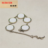 bracelet en fleur achat en gros de-Sublimation en métal Bracelet forme de fleur DIY Transformation de chaleur bricolage Bride de cheville vierge Matériel