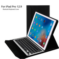 Wholesale bluetooth keyboard folio case - Ultrathin Detachable Wireless Bluetooth Keyboard For iPad Pro 12. 9 Tablet Folio PU Leather Case With Stand