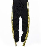 Wholesale Boys Prints - High Quality Drawstring palace A yellow ribbon Trousers Hiphop Men Boy Streetwear Hip Hop Joggers yeezus Pants Skateboard Sweatpants