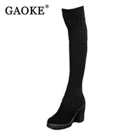 Wholesale summer knitted high heel boots - 2017 Winter Fashion Shoes Woman Knitted Sexy Snow Boots Women Knee High Boots Elastic Slim Thigh High Heel Black Boots