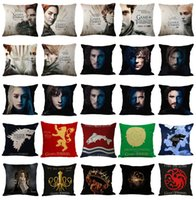 Wholesale Car Seat Cushions Brown - New 45x45cm Game of Thrones Cushion Cover Cotton Linen Chair Bedroom Seat Decorative Pillowcase Square Pillow Car-Covers