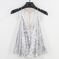Wholesale black sequin tank top - 2018 sequins sexy backless vest fitness cropped summer tank top party club blouse cute teen girls blouses t shirt tank top