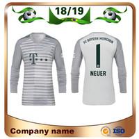 Wholesale uniform resale online - 18 NEUER Goalkeeper Soccer Jersey Goalkeeper NEUER gray Club team Long sleeved football uniform sales