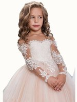 Wholesale girls long sleeve dresses sale - On Sale Ball Gown Long Sleeves Appliques Button Sweep Train Blush Sweep Train Wedding Birthday Flower Girl Dress