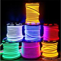 tiras de luz led impermeables ip68 al por mayor-Cinta LED Neon Flexible Cuerda Luz Impermeable IP68 Mini Cinta LED 220V 110V Cinta flexible para iluminación exterior con enchufe