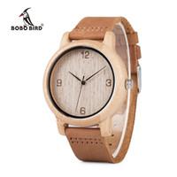 relógios bobo venda por atacado-Bobo bird relogio masculino relógios de bambu antigo homens e mulheres com pulseira de couro de madeira relógio de pulso top marca drop shipping y1883102