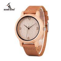 bobo relojes al por mayor-BOBO BIRD relogio masculino Relojes de bambú antiguos hombres y mujeres con correa de cuero reloj de pulsera de madera Top Brand Drop ShippingY1883102