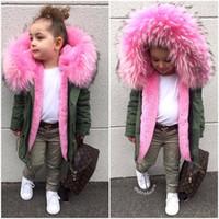 büyük kız kışlık palto toptan satış-Kış Çocuk Ceketler Kız Erkek Mont Kapüşonlu Büyük Faux Kürk Yaka Çocuk Giyim Erkek Bebek Snowsuit Kız Parkas