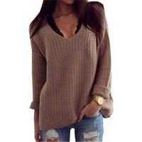 sueter rapido al por mayor-2018 Sweater V Collar Venta rápida grande Europa y los Estados Unidos Fresh Color mujeres suéteres y pullovers Vestidos MMY69130