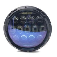 Wholesale blue headlight bulb for sale - 135W Blue Projector Lens inch LED Headlights White DRL Amber Turn Signal DRL Bulbs Kit for Jeep Wrangler JK LJ JKU