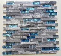 azulejos de cocina de mármol al por mayor-11 unids mosaico de mármol gris azulejo de cristal azul cocina backsplash fondo de baño decorativos pared chimenea bar azulejos de piedra de la pared