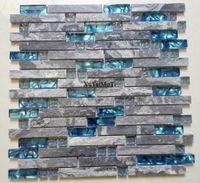 Stein Wand Fliesen Küche Großhandel 11pcs Graue Marmor Mosaik Blau Glas  Fliesen Küche Backsplash Badezimmer