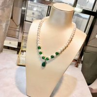 Wholesale beaded necklaces for sale - New Fashion Glossily Ball Silver Pearl Short Necklace Summer Graceful Style Lady Women White Green