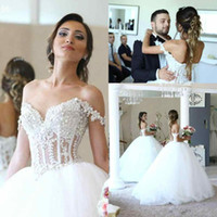Wholesale Empire Waist Off Shoulder Dress - Luxury Beaded Lace Ball Gown Wedding Dresses Applique Off Shoulder Pearls Tiered Tulle See Through Waist Court Train Wedding Bridal Gowns
