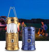 estilo de linterna al por mayor-Estilo clásico 6 LEDs Luz de camping recargable Solar plegable Linterna de camping Luces de la tienda Linterna LED para acampar al aire libre Senderismo