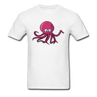 Wholesale korea plus size clothing for sale - Purple Octopus Tshirt For Men Cute Graphic T Shirts Korea Plus Size White T shirt Fahsion Brand Full Cotton No Button Clothes