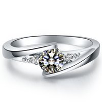 Wholesale Diamond Semi Mount Stone - Star twinkle 0.5ct synthetic diamond rings 925 sterling silver jewelry plated 18K white gold semi mount ring for bride settings infinity