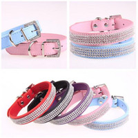 Wholesale rhinestones dog collars resale online - CW010 New Bling small Dog Collar PU Leather Rhinestone diamond Pet Puppy Cat collar Fashion Necklace dog collars S M L size