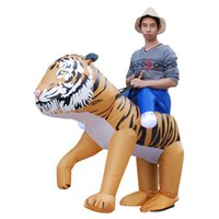 Wholesale Tiger Mascots Costumes - Adult Halloween Christmas Mascot Party Funny dress Inflatable Costumes Fancy Tiger Animal Costume for Suitable LJ-036