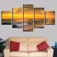 Discount art room hd pictures - Home Decor Living Room Wall Poster Pictures 5 Pieces Sea Wave Sunrise Seascape Art Modular Paintings Canvas HD Printed Framework