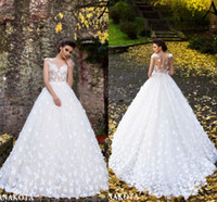 Wholesale fitted flare wedding dresses for sale - Group buy Beautiful White Butterflies Hand Made Flowers Flare Fitted Bridal Wedding Dresses New Sheer Neck Cap Sleeves Appliques Long Bridal Gowns