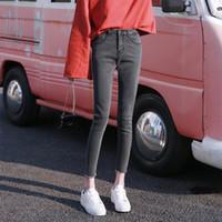 siyah sıska kot kızlar toptan satış-Lguc. 2018 Sonbahar Skinny Jeans Kadın Streç Sıkı Kot Kadın Moda Kore Jean Genç Kız Rahat Pantolon Gri Siyah XS
