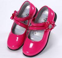 vestidos de flor rosa branca preta venda por atacado-Sapatos de couro meninas crianças flores branco preto rosa vestido sapatos crianças princesa alunos escola sapatos tamanho 26-36