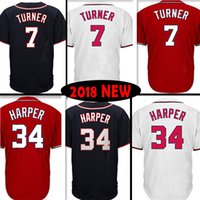 Wholesale jerseys - 7 Trea Turner Washington Baseball Jerseys red white blue cool base flex base