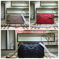 Wholesale nude shoulder bag women for sale - Group buy Marmont bag Luxury Handbags high quality Famous Brands Designer Handbags women bags Genuine Leather Shoulder Bags Three size
