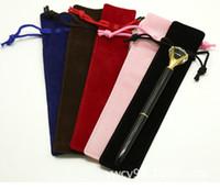 Wholesale pouches for pens resale online - Single Pencil Bag Pen Case with Rope For Fountain Ballpoint Pen Velvet Pen Pouch Holder