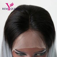 Wholesale remy human silk hair wigs for sale - Group buy Remy Queen A T1B Gray Silk Straight Front Lace Wig Human Hair Density Natural Hairline With Baby Hair Bleached Knots