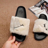 hohe sandalen winter großhandel-Luxus Kunstpelz Hausschuhe Frauen Mädchen Sandalen Mode Scuffs Schwarz Rosa Rot Grau Blau Rutschen Hohe Qualität