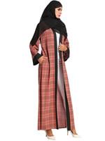 falda grande abrigos al por mayor-187113 Musulmanes vestidos de punto para mujer Chaquetas Revestimiento vestido 2018 Loose Big Code Faldas largas de mujer Faldas sin bufandas Mujer Vestidos