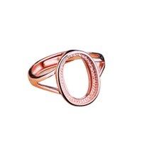 bernstein ringe frauen großhandel-925 Sterling Silber Frauen Ehering 10x14mm Oval Cabochon Semi Mount Ring Bernstein Türkis Opal Einstellung Großhandel