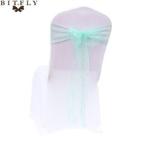 Wholesale mint green decorations - 25 Pcs Mint Green Wedding Organza Chair Cover Sashes Sash Party Banquet Decor Bow Mint Green Colour With Free Shipping