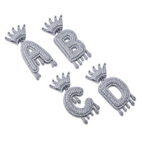 Wholesale crown jewelry for sale - Hip Hop Iced Out A Z Custom Name Crown Drip Letters Pendant Necklace Chain Gold Silver Color Cubic Zircon Jewelry