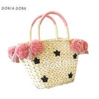 dokuma çanta yaz toptan satış-Renkli Ponpon Yaz Tarzı Çanta Bohemian Boho Hasır Çanta Ünlü Tasarımcı Markalar Yüksek Kalite Tay Dokuma Plaj Çantası