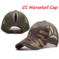 Wholesale Pink Pony Tail - CC Ponytail Baseball Caps 2018 Women Camouflage Ponytail Caps Cap Fashion Girl Basketball Hats Back Hole Pony Tail With CC Logo 7 Color