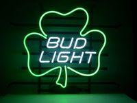 neon-shamrock licht großhandel-Neon SIGN Bar Bierkneipe REAL GLASS NEON LIGHT BIER PUB Neon SIGN für BUD LIGHT LUCKY SHAMROCK Bierclub PUB im Wandraum