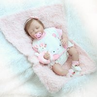 Wholesale Cute Toddler Toys - 22inch Silicon Reborn Baby Dolls Newborn Toddler Doll Sleeping Baby Doll Girl Eyes Close with Hair Clothes Lifelike Cute Toys