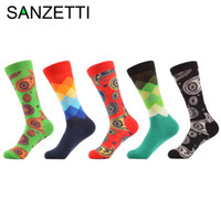 Wholesale Long Striped Socks For Men - Sanzetti 5 Pairs  Lot Men 'S Funny Pattern Combed Cotton Socks Casual Crew Socks For Man Long Business Dress Socks Wedding Gift