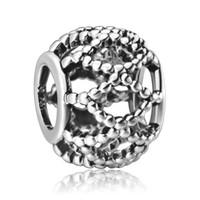 personalisierte perlen großhandel-Hohle Form personifizierte Art 925 feine Sterlingsilber-europäische Weinlese-Korn-Charme-Schmucksache-kompatibles Schlange-Pandora-Armband-Kette 1pcs oben
